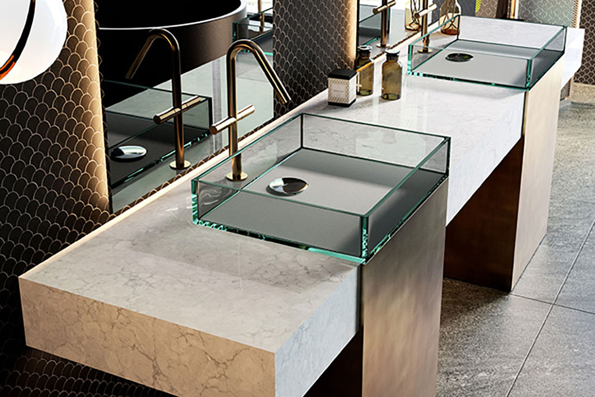 LG Viaterra Quartz with Glass Sinks